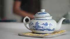 Vintage China Tea Pot - stock footage