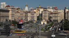 Kiev Time Lapse, Aerial View of Maidan Nezalezhnosti, Independence Square - stock footage