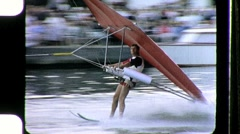 Man Rides Flies Parasail Glider Ski Landing 1960s Vintage Film Home Movie 1059 Stock Footage