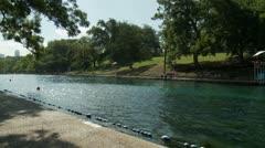 Barton Springs - Huge Outdoor Pool, Diagonal View Stock Footage