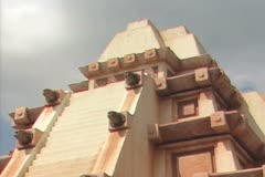 Zoom out from recreated temple Stock Footage