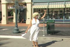 Person dressed as Marilyn Monroe Stock Footage