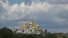 Aerial View of Vydubychi Monastery, Kiev Pechersk Lavra, Kiev, Kyiv, Ukraine Stock Footage