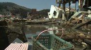Japan Tsunami Aftermath - Houses Destroyed In Kesennuma City Stock Footage