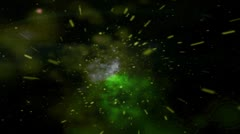 UFO IN GREEN SPACE GALAXY - stock footage