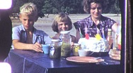 Pretty Young Mother Children Family Picnic 1950s Vintage Film Home Movie 1069 Stock Footage