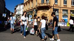 Heidelberg pedestrians crossing zebra Stock Footage