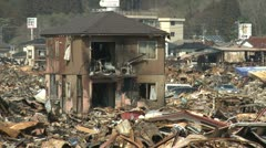 Japan Tsunami Aftermath - Burnt Out Wasteland In Kesennuma City - stock footage