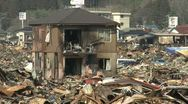 Japan Tsunami Aftermath - Burnt Out Wasteland In Kesennuma City Stock Footage
