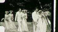 Stock Video Footage of WEDDING PROCESSION Bride Groom Bridesmaids 1940s Vintage Film Home Movie 1075