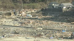 Japan Tsunami Aftermath - Seagulls Fly Over Destroyed Village Stock Footage