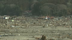 Japan Tsunami Aftermath - Remains Of Destroyed Downtown Rikuzentakata City - stock footage