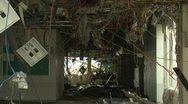 Japan Tsunami Aftermath - Remains Of Destroyed Hospital In Rikuzentakata City Stock Footage