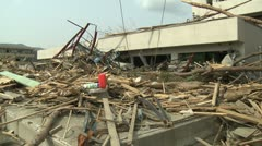 Japan Tsunami Aftermath - Damage To Hospital In Rikuzentakata City - stock footage