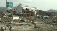 Japan Tsunami Aftermath - Remains Of Destroyed Downtown Rikuzentakata City Stock Footage