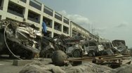 Japan Tsunami Aftermath - Destruction Outside Building In Downtown Stock Footage
