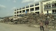 Stock Video Footage of Japan Tsunami Aftermath - Destruction Outside Building