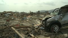 Japan Tsunami Aftermath - Destroyed Car In Remains Of Downtown Stock Footage