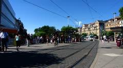 Heidelberg Bismarck Platz square traffic tram station Stock Footage