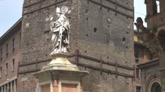 Saint Petronius's Statue Bologna Italy urban landmark old town famous symbol day Stock Footage