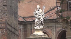 Famous Saint Petronius's Statue Bologna Italy tourism attraction symbol italian  Stock Footage