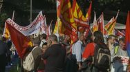 Stock Video Footage of Demonstration crowd in Rome wait