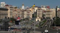Kiev Skyline, Aerial View of Maidan Nezalezhnosti, Independence Square, Monument Stock Footage