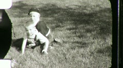 Little Boys Wrestle on Lawn Circa 1945 (Vintage Film Home Movie) 1083 Stock Footage
