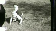 Little Boys Wrestle on Lawn Circa 1945 (Vintage Film Home Movie) 1083 Stock Footage