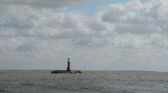 0132 ligthouse in the sea bay and waves Stock Footage