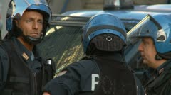 Stock Video Footage of Worried looking riot police in Rome