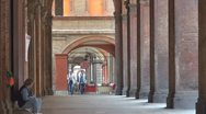 Beautiful archway old icon Bologna urban downtown Italy medieval town emblem day Stock Footage