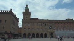 TImelapse tourist people visit Piazza Maggiore, Bologna, Italy landmark square  Stock Footage