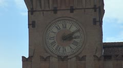 Beautiful ancient clock vintage heritage medieval town old city decoration day   Stock Footage