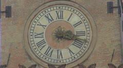 Timelapse ancient clock urban decoration vintage ornament time pass day emblem Stock Footage