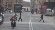 Public transportation downtown street Old Town Bologna Italy car pollution rush  Stock Footage