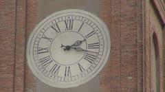 Beautiful ancient clock traditional ornament public building wall tourism emblem Stock Footage