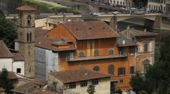 Ponte alle Grazie, Arno River Aerial View of Florence, Italy, Architecture Stock Footage