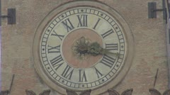 Beautiful ancient clock urban town decorative wall tower public vintage symbolic Stock Footage