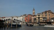 Time Lapse of Rialto Bridge in Venice, Italy, people,  boats, ships and gondolas Stock Footage