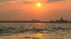 Sunset - Lower Manhattan, Boats in the harbor and New Jersey Stock Footage