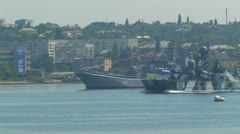 """Missile hovercraft """"Bora"""" Black Sea Fleet. - stock footage"""