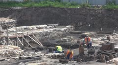 Timelapse Man working on archaeological site historic heritage exploration Stock Footage