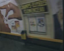 Subway train coming to a stop at station platform Stock Footage