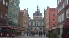 Timelapse of people in old town Gdansk, Poland Stock Footage