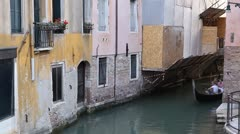 Time Lapse of Venice, Aerial View of  Gondolas on a Small Canal near San Marco Stock Footage
