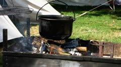 Medieval festival open fire cooking Stock Footage