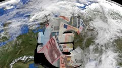 Zooming out from Euro symbol on Europe on globe animation Stock Footage