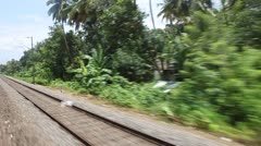 Scene from moving train, South India - stock footage
