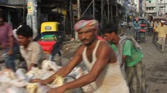 Morning road traffic, August 3, 2011 in Old Delhi, India - stock footage